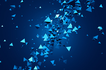 triangles: Abstract 3d rendering of chaotic particles. Background of pyramids in empty space.