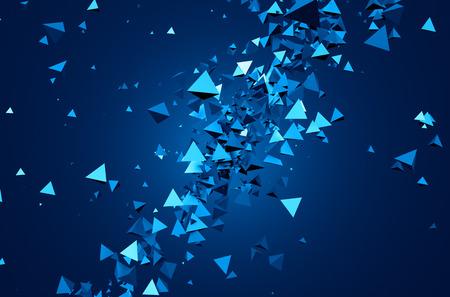 triángulo: Resumen representación 3D de partículas caóticas. Antecedentes de pirámides en el espacio vacío.