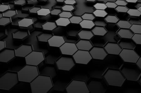 Abstracte 3D-weergave van futuristische oppervlak met zeshoeken. Sci-fi achtergrond.
