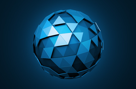 Abstract 3d rendering of low poly sphere with chaotic structure. Sci-fi background with wireframe and globe in empty space. Futuristic shape. 免版税图像 - 50015348