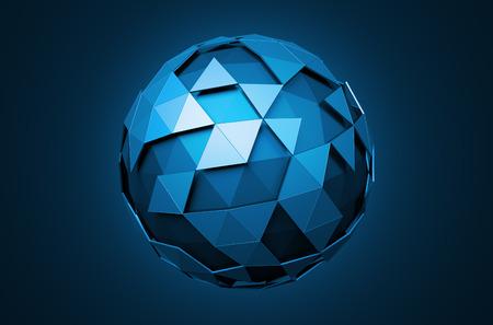 esfera: Resumen representación 3D de baja esfera poli con estructura caótica. Fondo de ciencia ficción con alambre y el globo en el espacio vacío. Forma futurista.