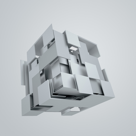 rendering: Abstract 3d rendering of flying cube. Sci fi shape in empty space. Futuristic background.