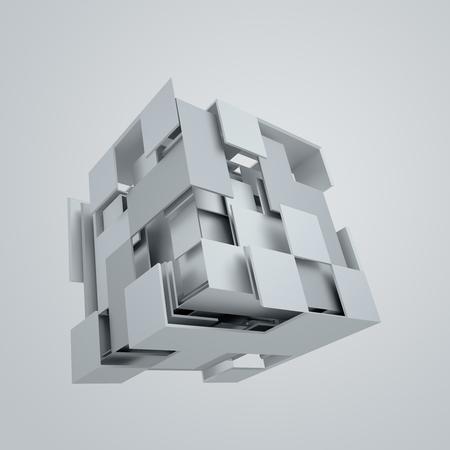 Representación abstracta 3d del cubo que vuela. Forma de ciencia ficción en el espacio vacío. Fondo futurista