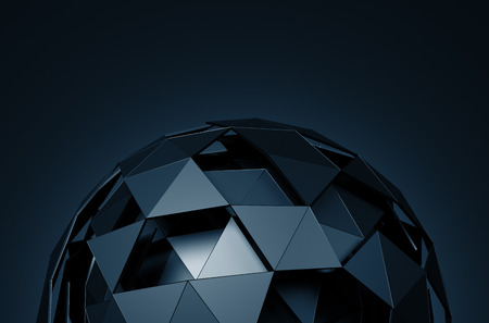 metal sphere: Abstract 3d rendering of low poly sphere with chaotic structure. Sci-fi background with wireframe and globe in empty space. Futuristic shape.