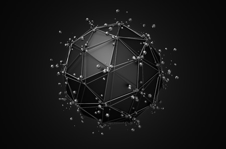 scifi: Abstract 3d rendering of low poly black sphere with chaotic structure. Sci-fi background with wireframe and globe in empty space. Futuristic shape. Stock Photo