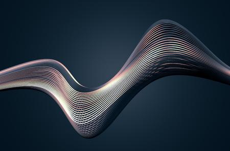 Abstrakte Wiedergabe 3d der High-Techen Metallstruktur. Dunkler Hintergrund mit Chromlinien im leeren Raum. Futuristische Stahlform. Standard-Bild - 50202549