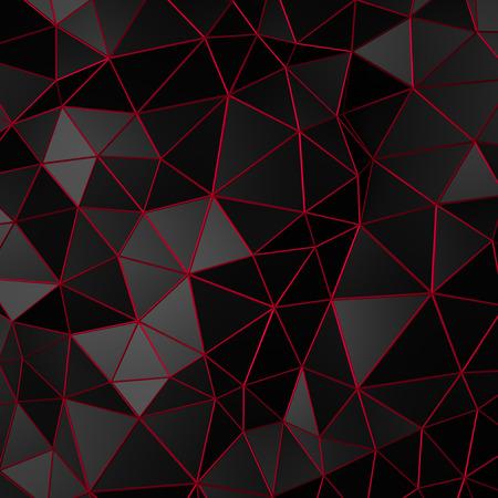블랙 표면의 추상 3d 렌더링. 미래 다각형 모양 배경.