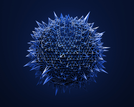 Abstract 3d rendering of blue sphere with chaotic structure. Background with wireframe and globe in empty space. Futuristic shape.