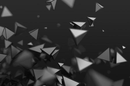혼란스러운 모양의 추상 3d 렌더링. 빈 공간에서 피라미드와 어두운 배경입니다.
