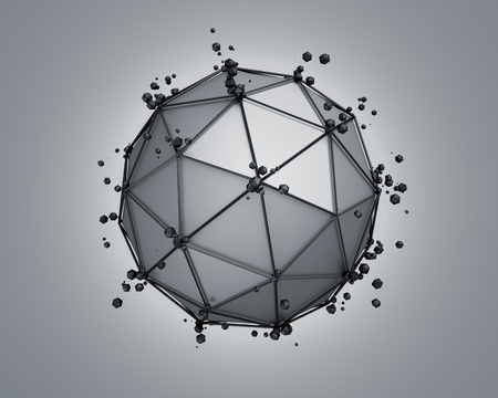 scifi: Abstract 3d rendering of low poly gray sphere with chaotic structure. Sci-fi background with wireframe and globe in empty space. Futuristic shape.
