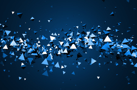 Abstract 3d rendering of chaotic particles. Background of pyramids in empty space.