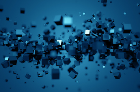 Abstract 3d rendering of chaotic particles. Poster with random cubes in empty space. Futuristic background.
