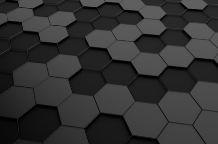 background information: Abstract 3d rendering of futuristic surface with hexagons. Sci-fi background.