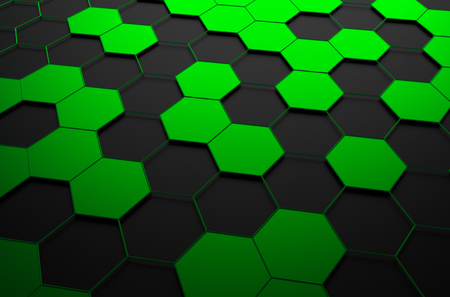 green and black: Abstract 3d rendering of futuristic surface with green and black hexagons. Sci-fi background. Stock Photo