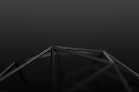 Abstract 3d rendering of black shape. Background with futuristic low poly lines.