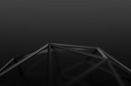 Abstract 3d rendu de forme noir. Arrière-plan avec des lignes futuristes de poly bas.