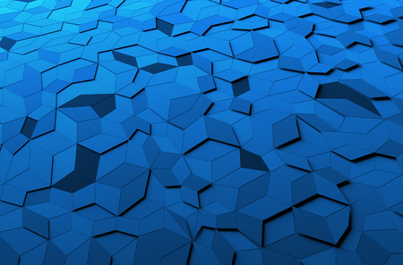Abstract 3d rendering of blue surface. Background with futuristic polygonal shape. Stockfoto