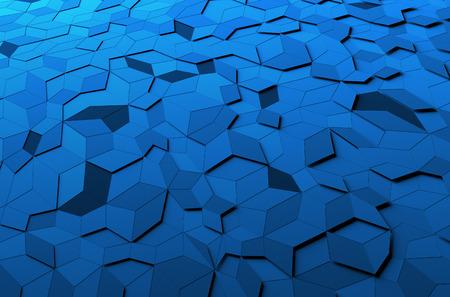 Rendu 3d abstrait de la surface bleue. Fond avec forme polygonale futuriste.