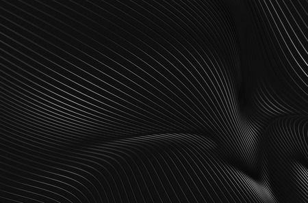 steel wire: Abstract 3d rendering of high tech metal structure. Dark background with lines in empty space. Futuristic steel shape. Stock Photo
