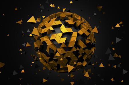 triangulo: Resumen representación 3D de baja esfera poli con estructura caótica. Fondo de la ciencia ficción con el globo en el espacio vacío. Forma futurista.
