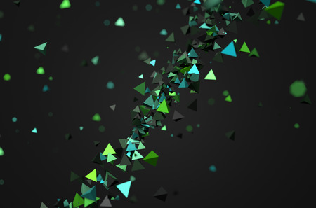 Abstract 3d rendering of green chaotic particles. Background of pyramids in empty space. Stock Photo