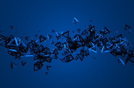 nanotech: Abstract 3d rendering of chaotic particles. Background with pyramids in empty space.