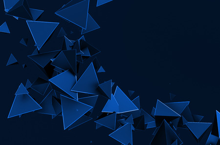 nanotech: Abstract 3d rendering of chaotic triangles. Background with pyramids in empty space. Stock Photo