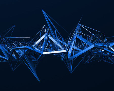 nanotech: Abstract 3d rendering of chaotic surface. Background with futuristic polygonal shape.