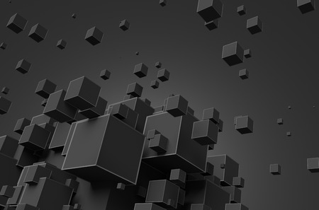 Abstract 3d rendering. Poster with random cubes in empty space. Futuristic background.