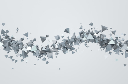 the particles: Abstract 3d rendering of chaotic triangles. Background with pyramids in empty space. Stock Photo