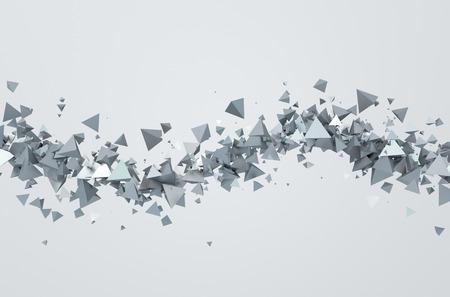 Streszczenie 3d utylizacyjnej z chaotycznych trójkątów. Tło z piramid w pustej przestrzeni.