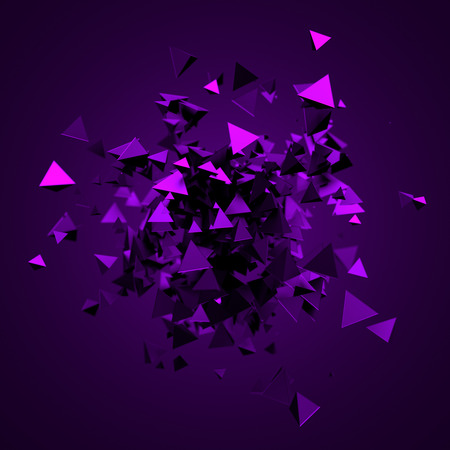 dispersion: Abstract 3d rendering of chaotic triangles. Background with pyramids in empty space. Stock Photo