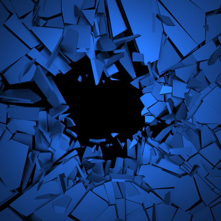 sci fi: Abstract 3d rendering of cracked surface. Background with broken shape. Wall destruction. Explosion with debris.