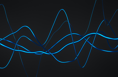 blue lines: Abstract 3d rendering of glossy wavy lines. Dark background with surreal waves in empty space. Futuristic shape.
