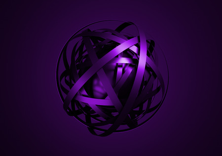 Abstract 3d rendering of sphere with rings in empty space. Futuristic shape. Surrealistic background. Stock Photo