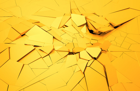 disruption: Abstract 3d rendering of cracked surface. Background with broken shape. Wall destruction. Explosion with debris.