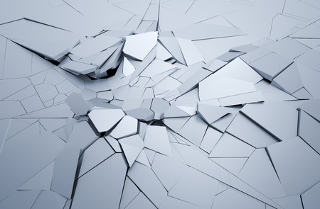 surrealism: Abstract 3d rendering of cracked surface. Background with broken shape. Wall destruction. Explosion with debris.