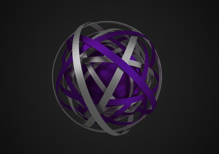 Abstract 3d rendering of sphere with rings in empty space. Futuristic shape. Surreal background.
