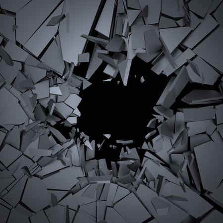 ひびの入った表面の 3 d レンダリングを抽象化します。壊れた図形と背景。壁破壊。破片で爆発。 写真素材