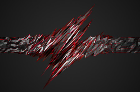 Abstract 3d rendering of chaotic surface. Background with futuristic polygonal shape. Noisy low poly metallic object. Stock Photo