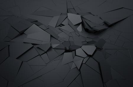 Abstract 3d rendu de surface craquelée. Arrière-plan avec la forme brisée. destruction du mur. Explosion de débris. Banque d'images - 58657177