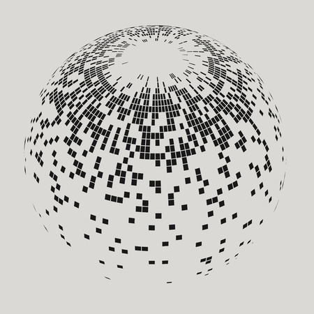 glob: Vector sphere with squares. Illustration of abstract sphere with black squares. Background design for banner, poster, flyer.