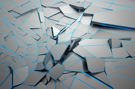 rendering: Abstract 3d rendering of cracked surface. Background with broken shape. Wall destruction. Explosion with debris.