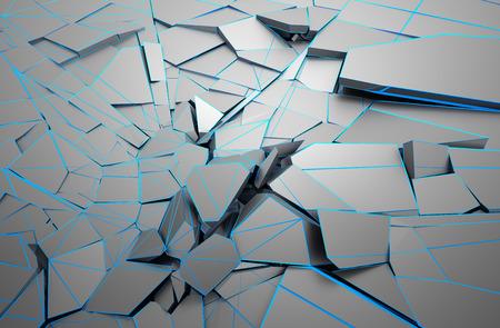 pared rota: Resumen 3D de superficie agrietada. Fondo con la forma rota. destrucción de la pared. Explosión de escombros.