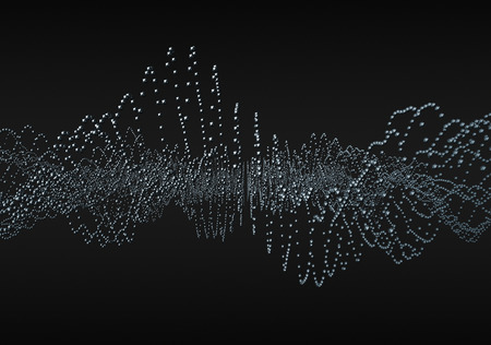 Abstract 3d rendering of waves with particles on black background. Futuristic background with lines of many low poly spheres. Design for poster, cover, banner, placard Stock Photo