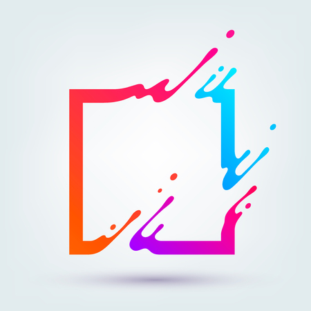 Ilustrace s abstraktní barevné čtverce. Abstraktní stříkající tekutý tvar. Pozadí pro plakát, obal, plakát.