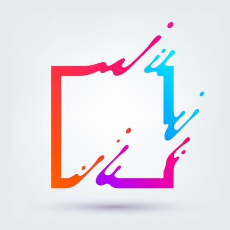 ilustración con cuadrados de colores de fondo. El chapoteo abstracto, forma líquida. Fondo para el cartel, portada, cartel.
