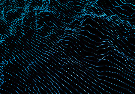 glitch: Abstract 3d rendering of waves with particles on black background. Futuristic background with lines of many low poly spheres. Design for poster, cover,  placard