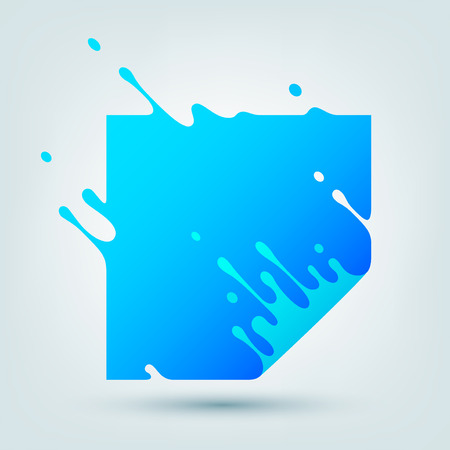 illustration with abstract blue square. Abstract splash, liquid shape. Background for poster, cover, placard. design Illustration