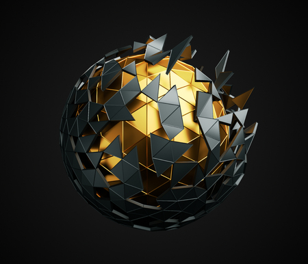 Abstract 3d rendering of low poly sphere with chaotic structure. Sci-fi background with polygonal shape in empty space. Futuristic design. Stockfoto